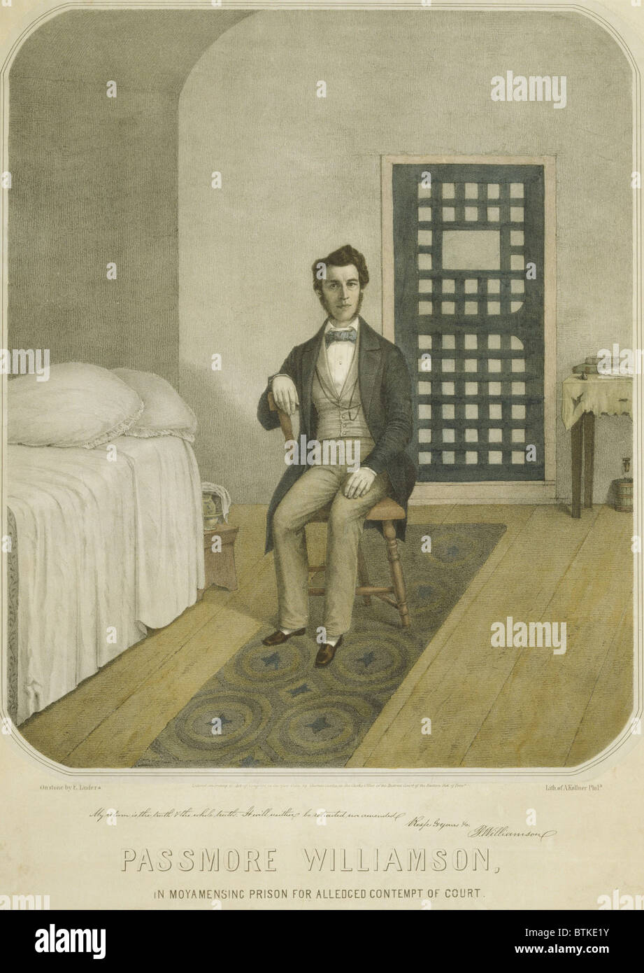 Abolitionist Passmore Williamson, in his Prison cell for violating the Fugitive Slave Law of 1850. With others Williamson - Stock Image