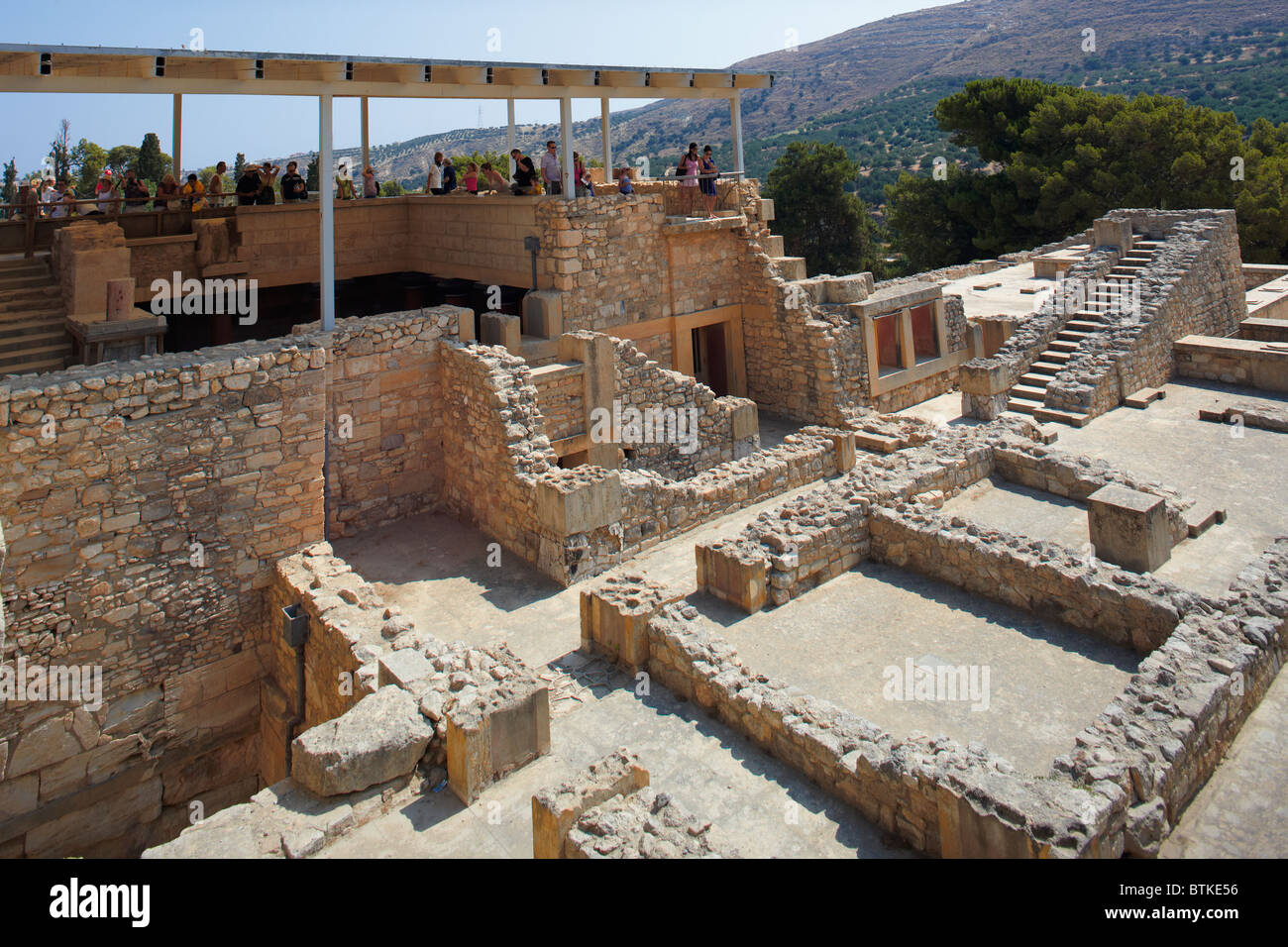 Elevated view of the ruined Knossos Palace. Crete island, Greece. - Stock Image