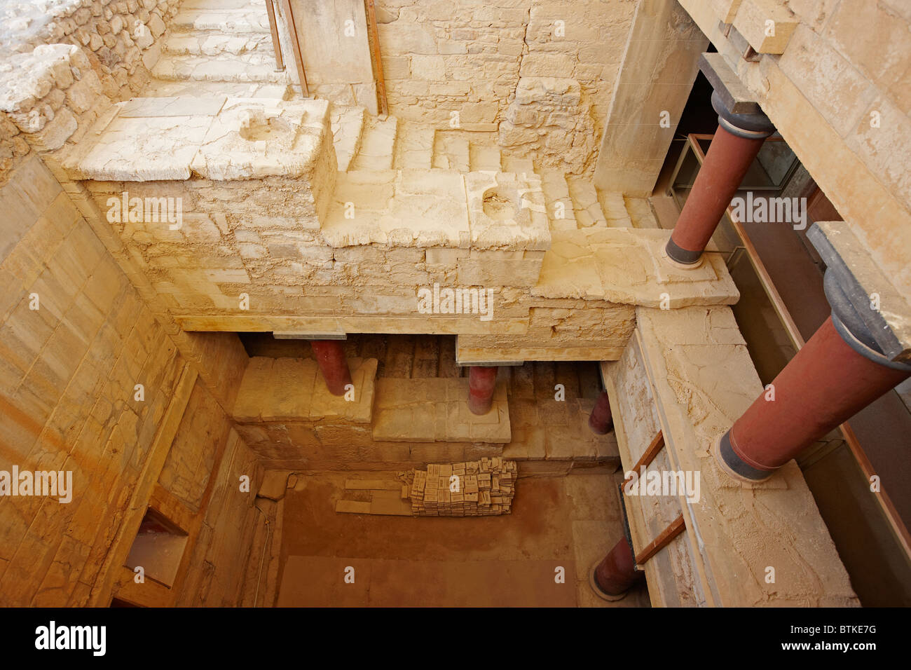 View From Above Of The Grand Staircase In Knossos Palace Crete