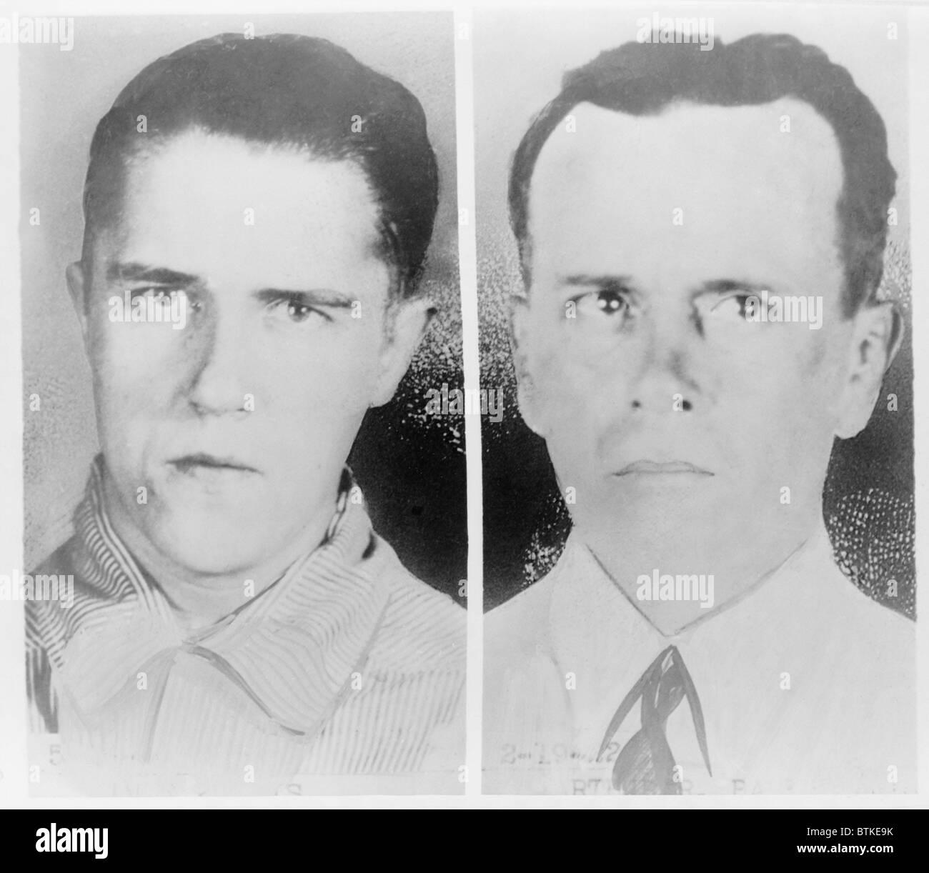 Alvin Francis 'Creepy Karpis' Karpowic (left) and Arthur R. 'Doc' Barker mugshots (right). The two - Stock Image