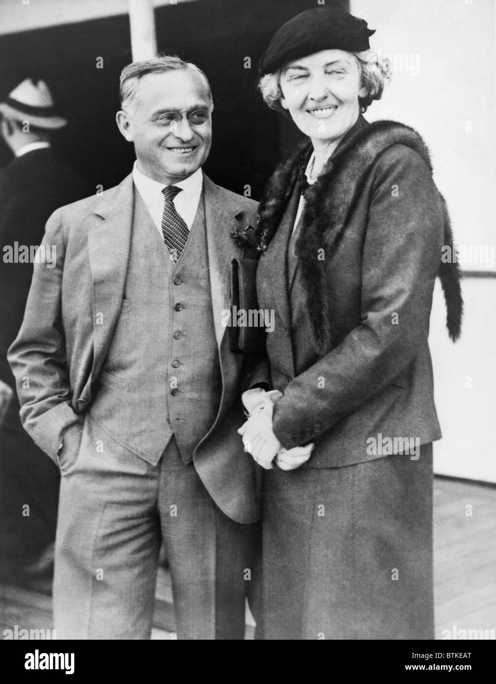 Felix Frankfurter (1882-1965) with his wife September 1933. He helped to found the American Civil Liberties Union - Stock Image