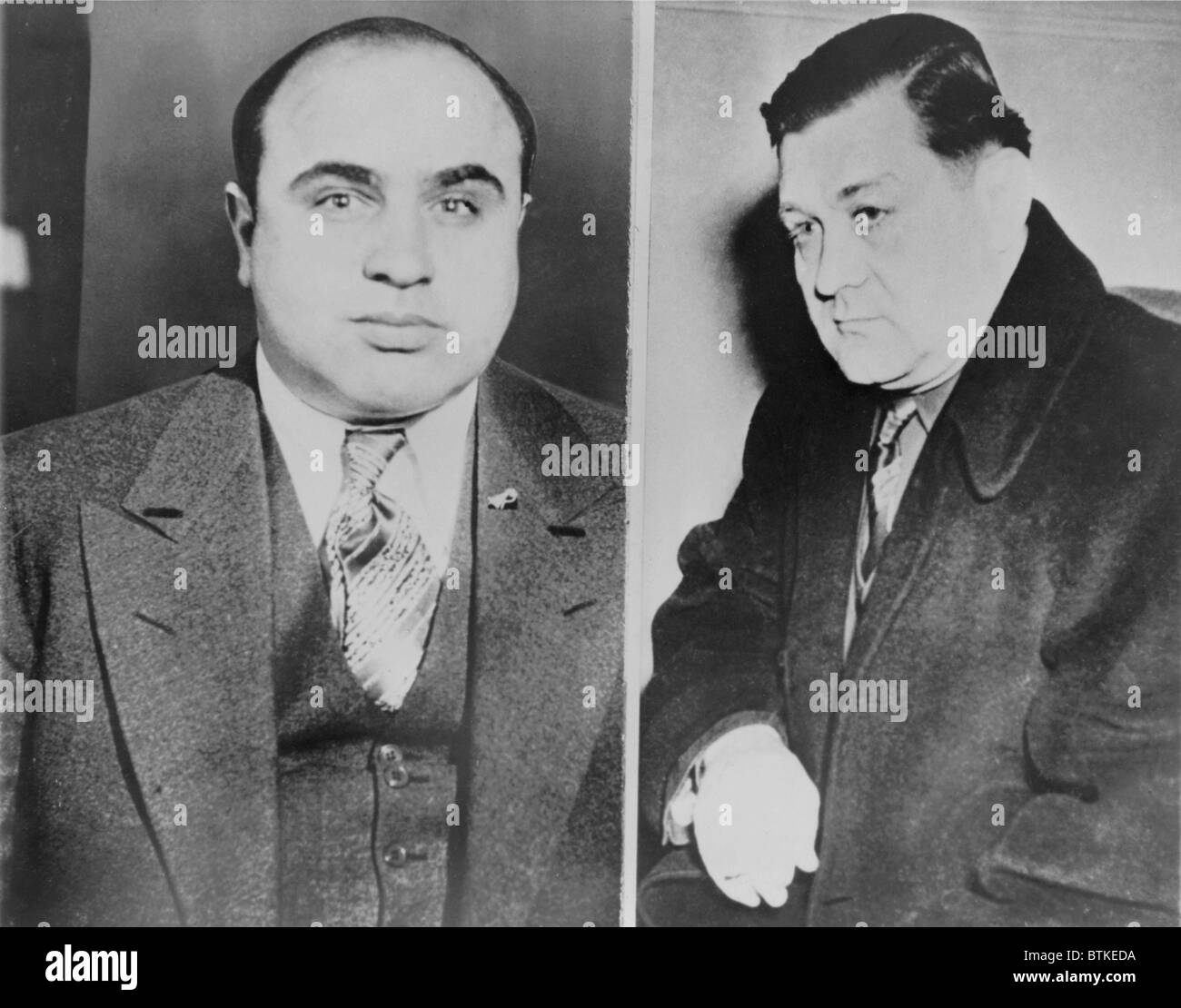 Al Capone (left) and his rival, George 'Bugs' Moran, Polish-Irish the boss of the North Side Gang. Capone - Stock Image