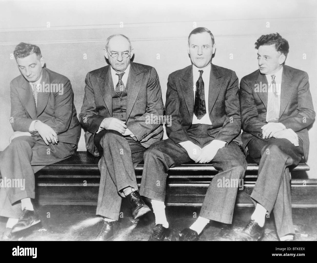 Members of Roger Touhy's gang in custody for trial for the kidnapping of mobster John Factor. L. to r.: Albert - Stock Image