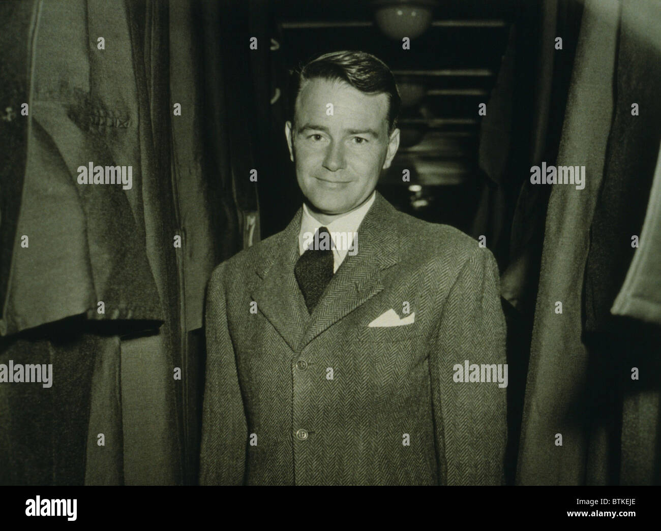 Lew Ayres (1908-1996), American actor, en route to labor camp after declaring himself a conscientious objector in Stock Photo