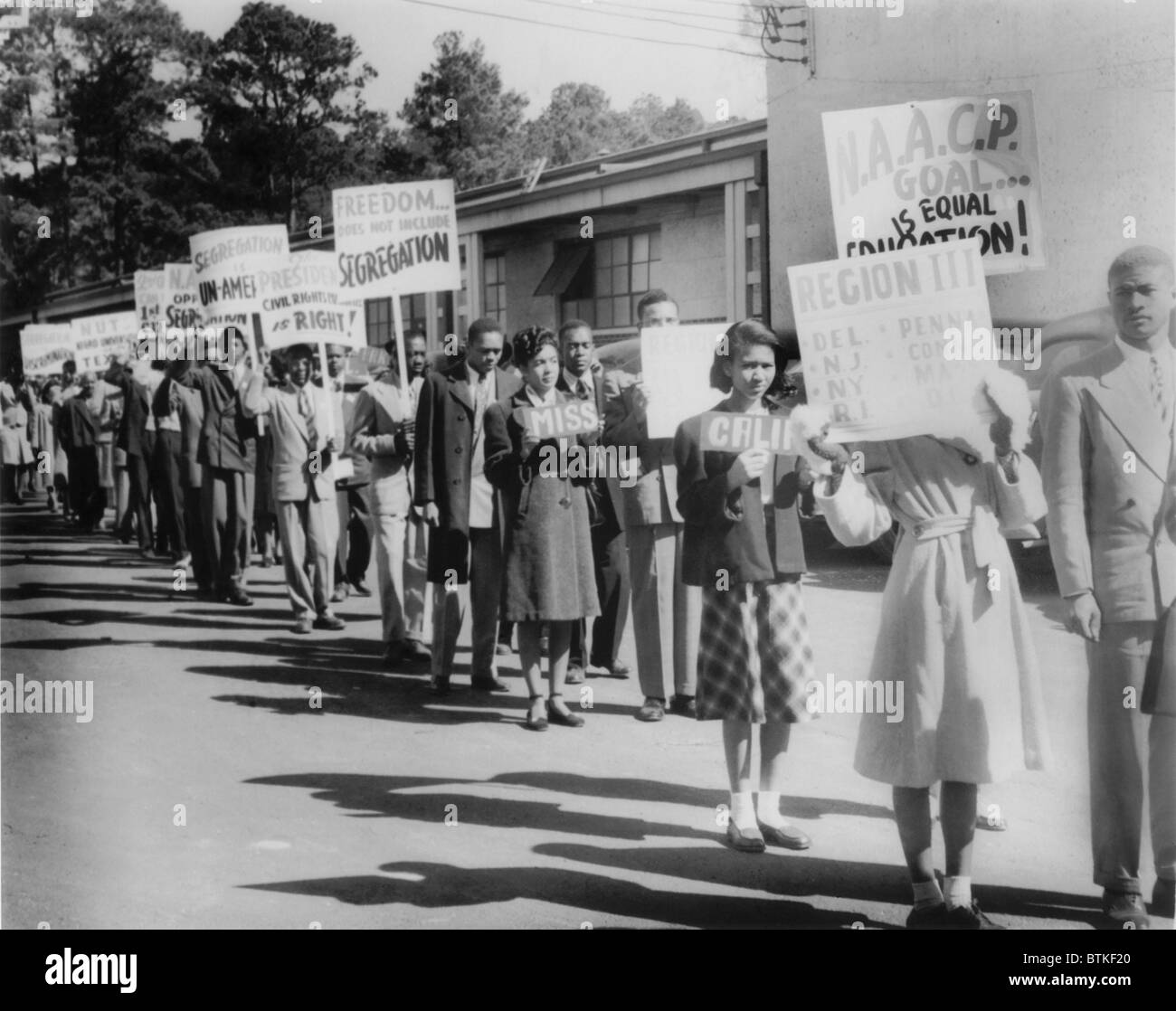 The Civil Rights Movement began in the late 1940's with small demonstrations such as this one by NAACP youth - Stock Image