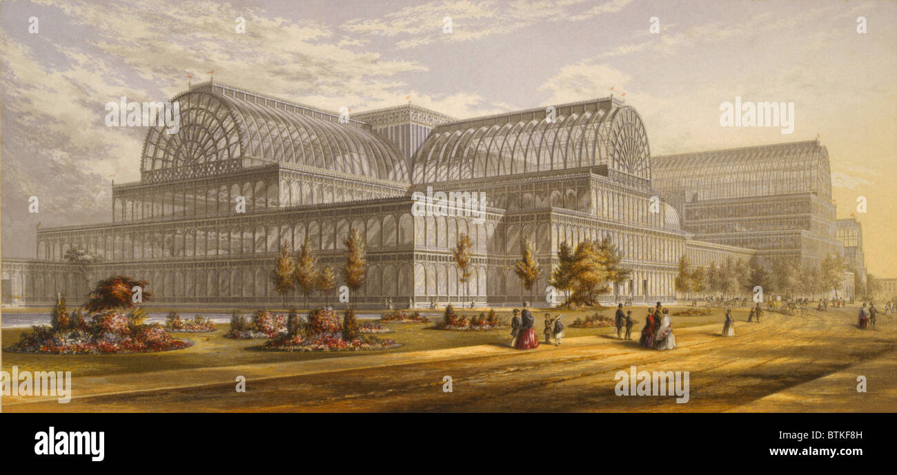 Crystal Palace during the Great Exhibition, London, 1851-1852, was a revolutionary building designed by Sir Joseph - Stock Image