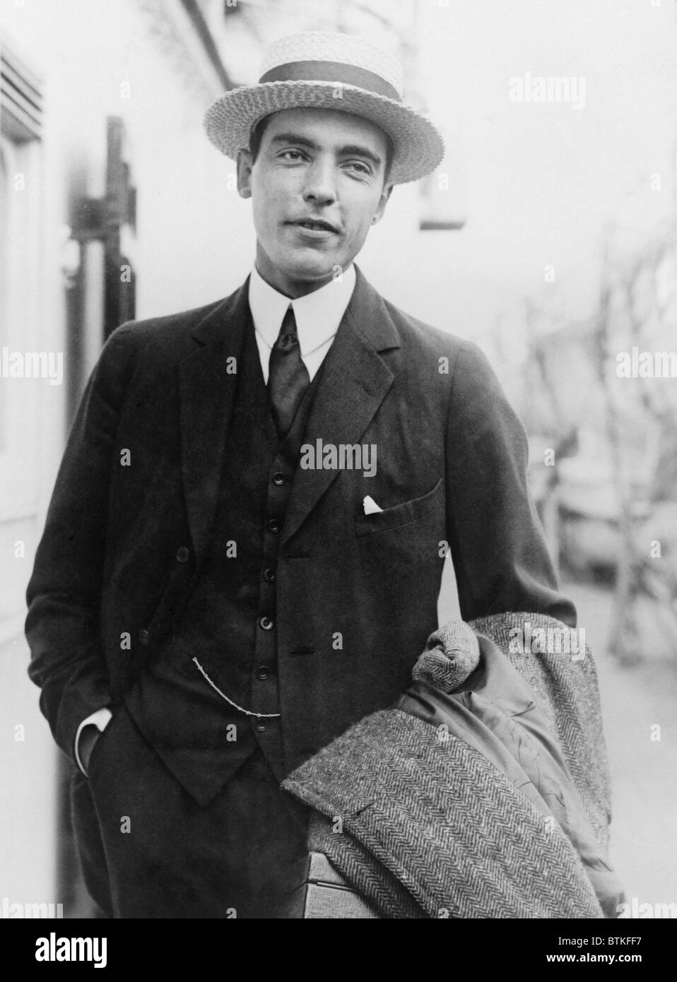 Vincent Astor (1891-1959), one of the wealthiest men in America, upon his return from Europe, 1922. In 1953 he married - Stock Image