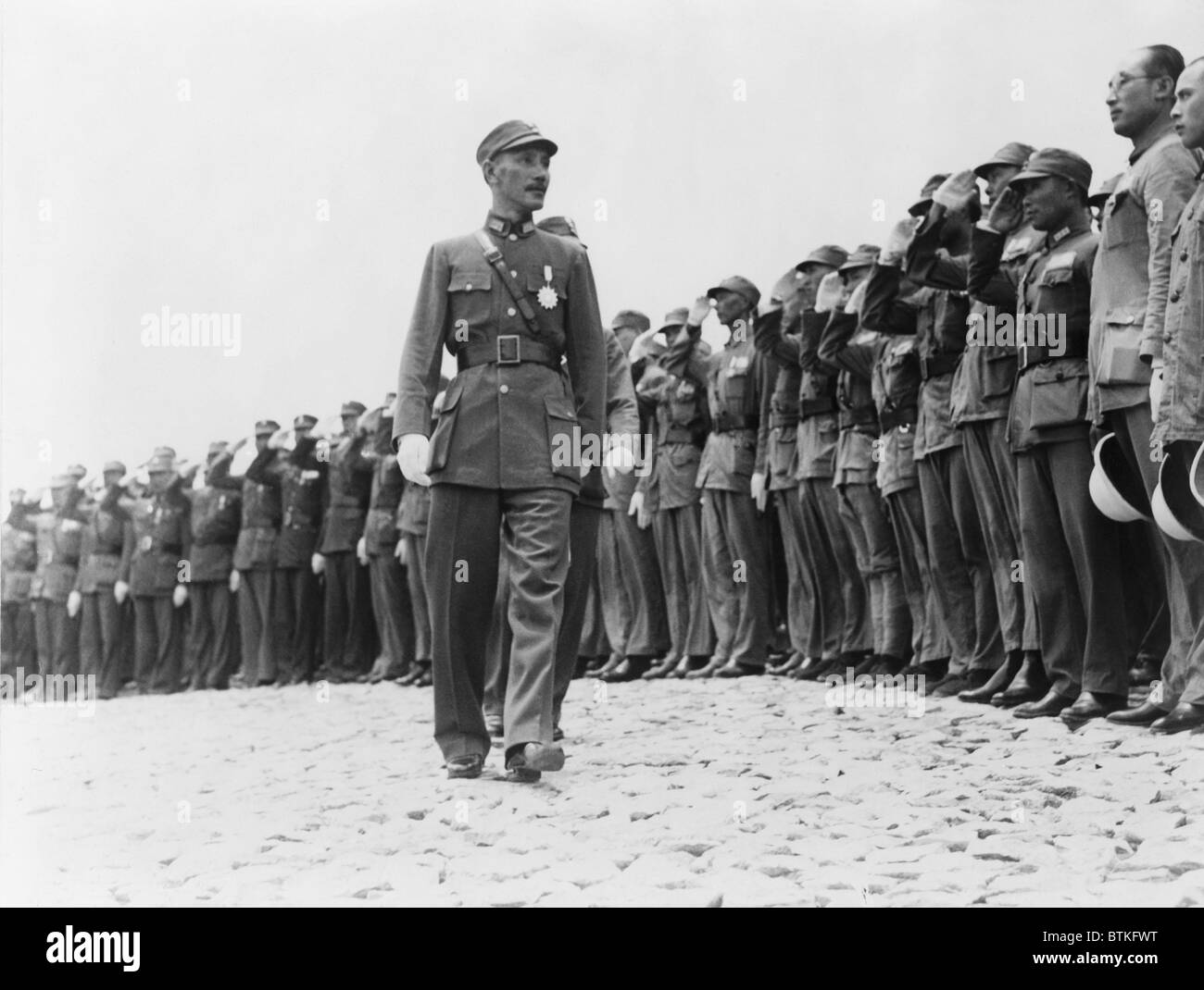 Chiang Kai-shek (1887-1975), inspecting high-ranking officers of Officers Training Corps at Jiangxi city in Lushan, - Stock Image