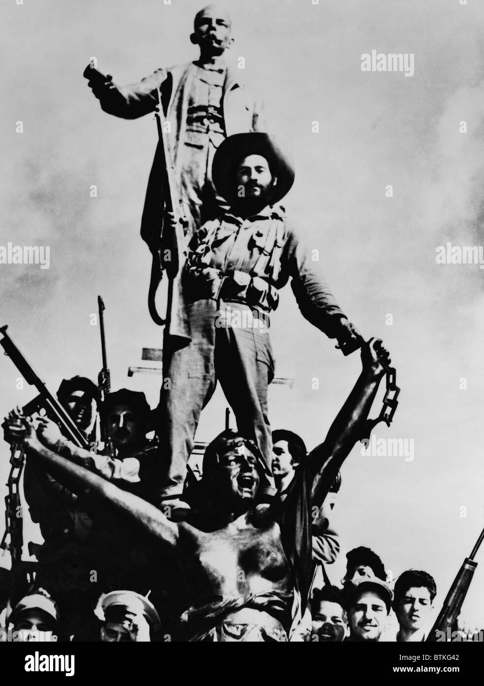 Cuban Revolutionary soldiers celebrating victory on a monument in Matanzas, Cuba. Sculptures are of Cuban national - Stock Image