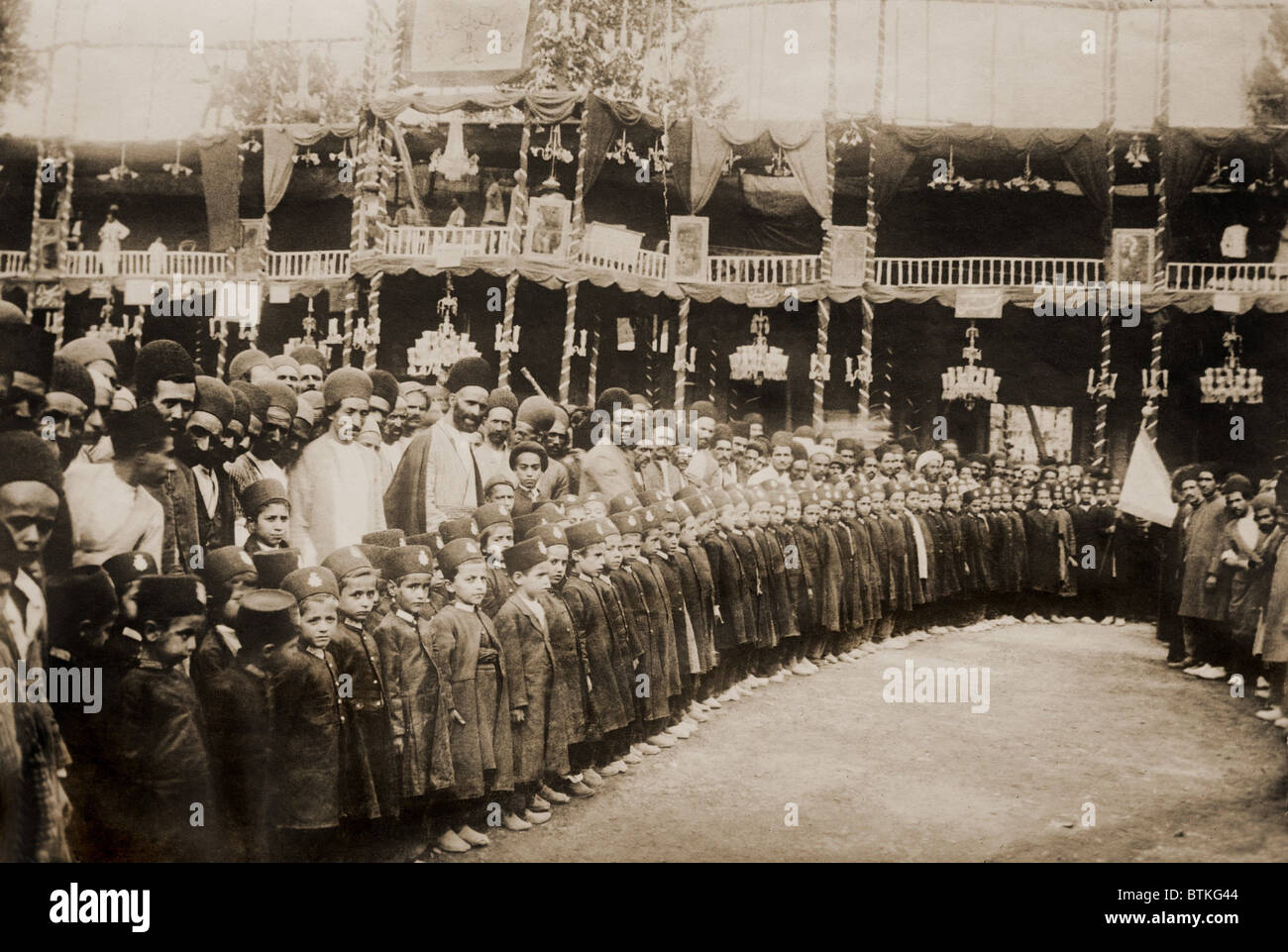Anti-royalist demonstration of uniformed students and adults in Tabriz, Persia. From 1907-1911 Persia underwent - Stock Image