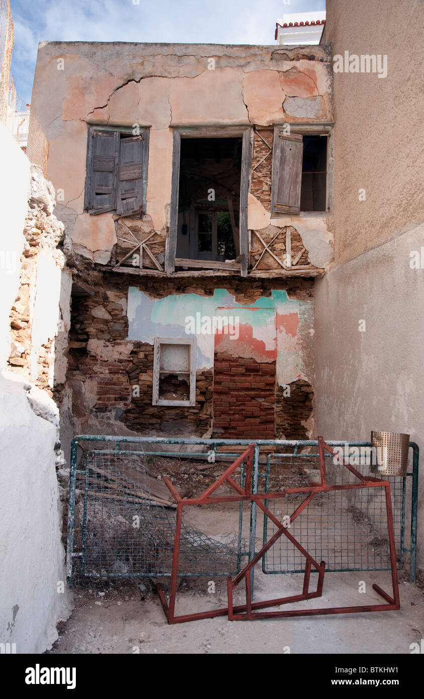 Old decrepit house in Ermoupolis, on the Greek Cyclade island of Syros Stock Photo