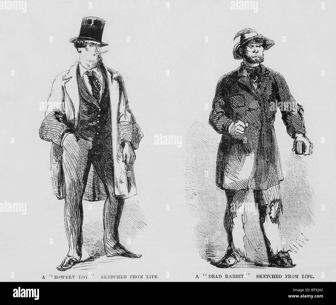 Portraits of members of the Bowery Boys gang (left) and the rival Dead Rabbits (right). Bowery Boys were nativist, - Stock Image