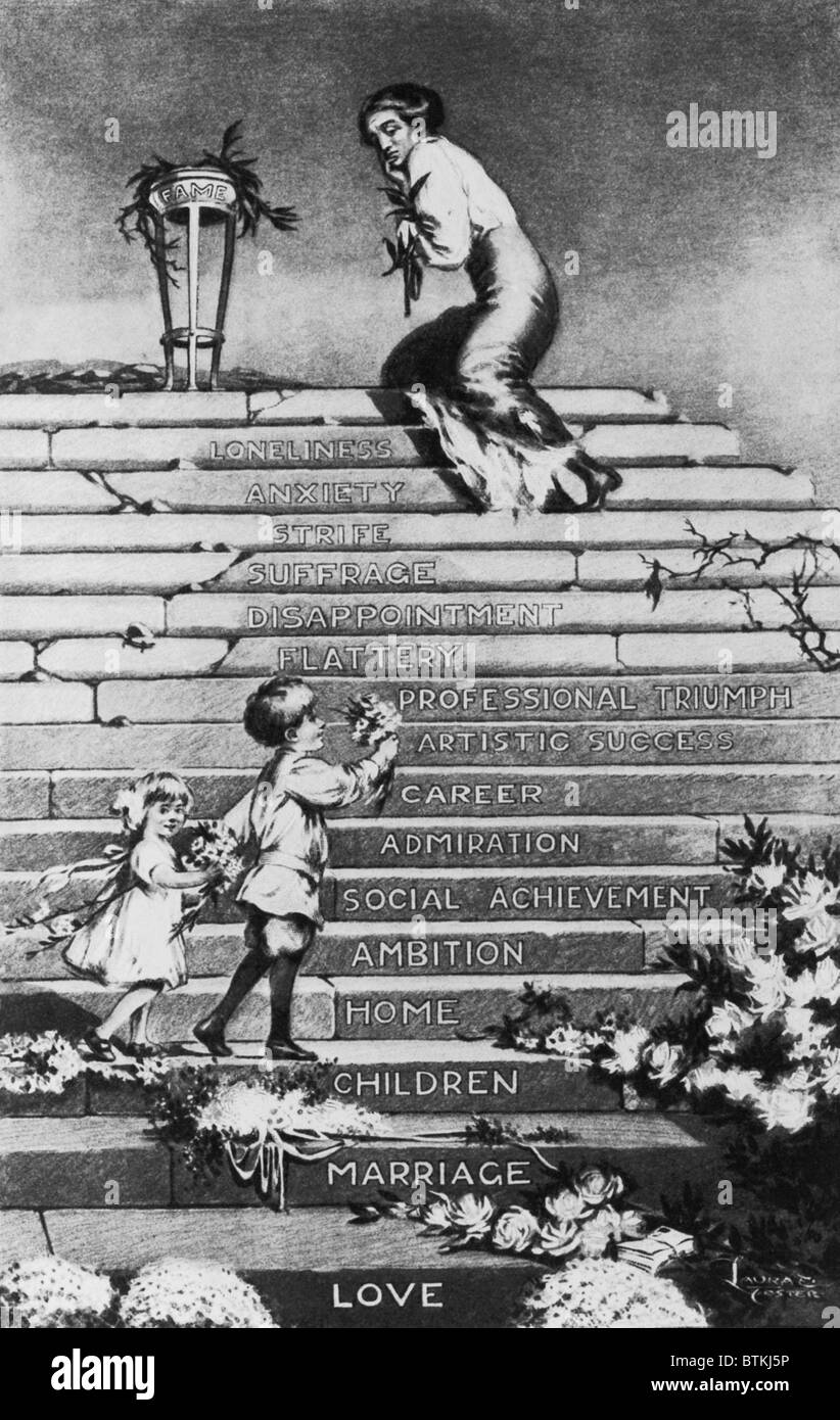 Anti-woman's suffrage political cartoon proposing woman's progress in the public sphere of life will lead - Stock Image