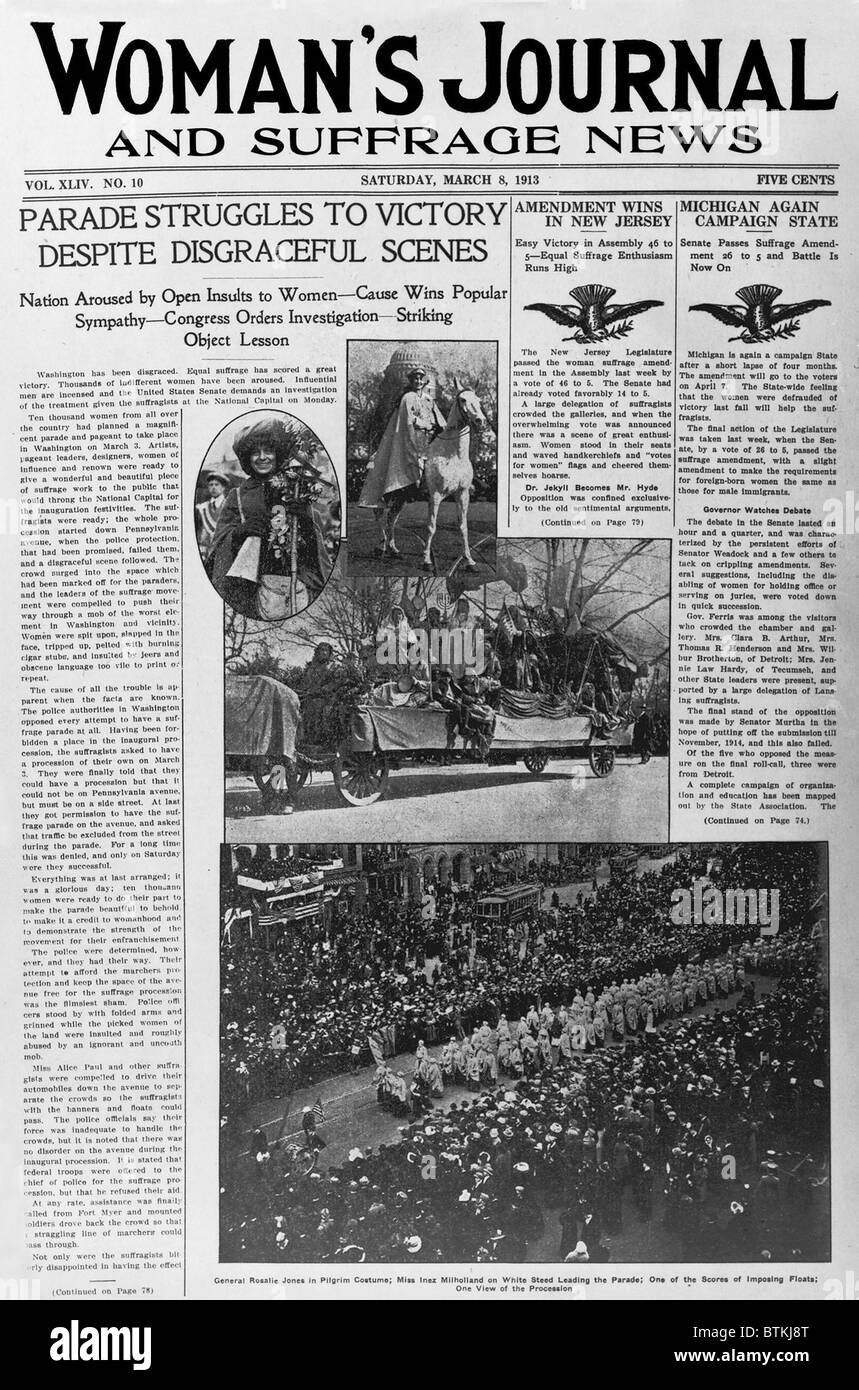 Front page of the WOMAN'S JOURNAL AND SUFFRAGE NEWS with the headline: 'Parade struggles to victory despite - Stock Image