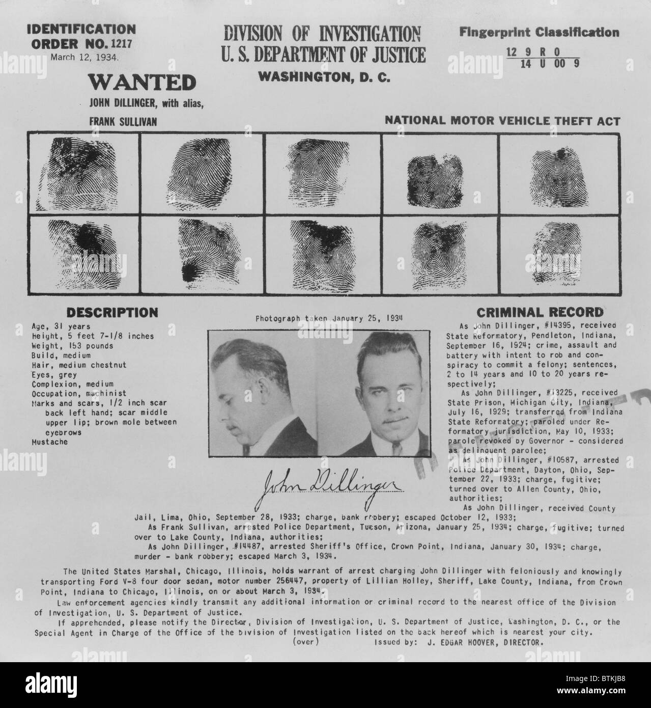 Wanted Poster for John Dillinger, displaying his fingerprints, signature, and portrait. 1934. - Stock Image