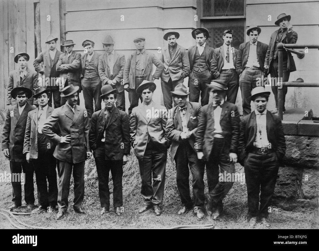 Some of the 100 Italian and Slavic coal miners arrested following a strike riot in which a constable, William Riggs, - Stock Image