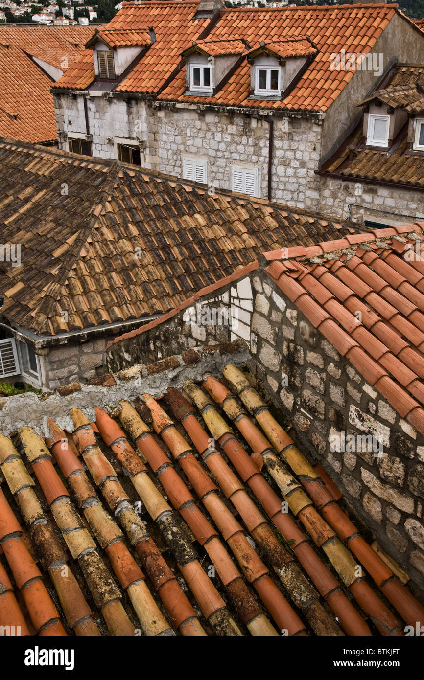 Dubrovnik Croatia Walled City red tiled roofs - Stock Image