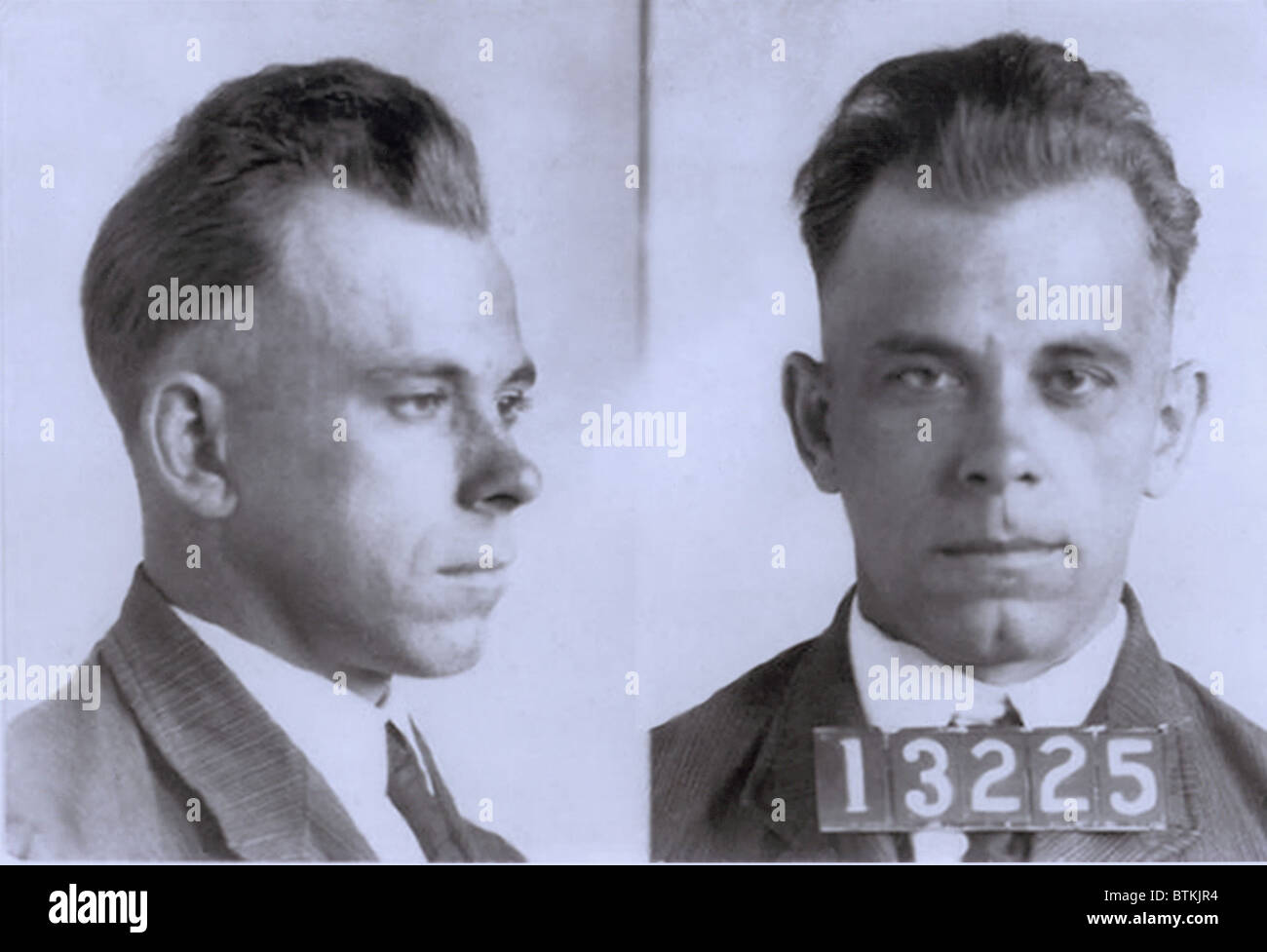 John Dillinger (1903-1934), in mugshot probably made during his eight and half year term in Indiana State Prison. - Stock Image