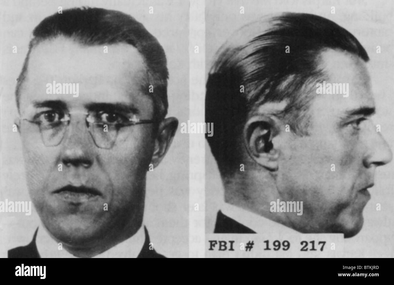 Alvin Francis 'Creepy Karpis' Karpowic mugshots. He joined the Barker Gang after meeting Freddie Barker - Stock Image