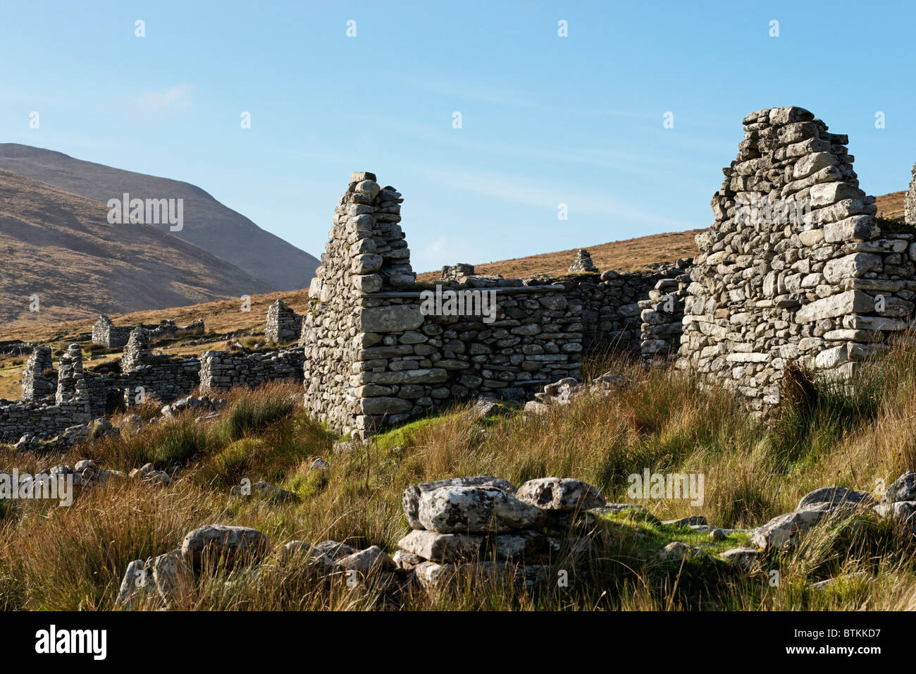 The ruins of the deserted village of Slievemore, Achill Island, County Mayo, Connaught, Ireland. - Stock Image
