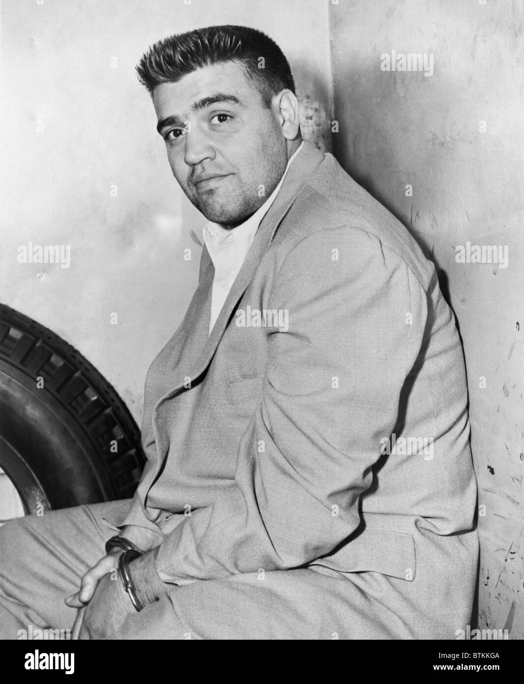 Vincent Gigante (1928-2002), future boss of the Genovese crime family, in police custody for a 1957 shooting. In - Stock Image