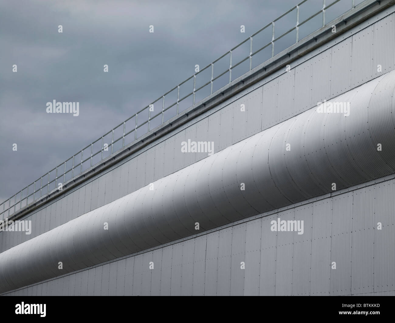Industrial Corrugated Metal Wall With Railing - Stock Image