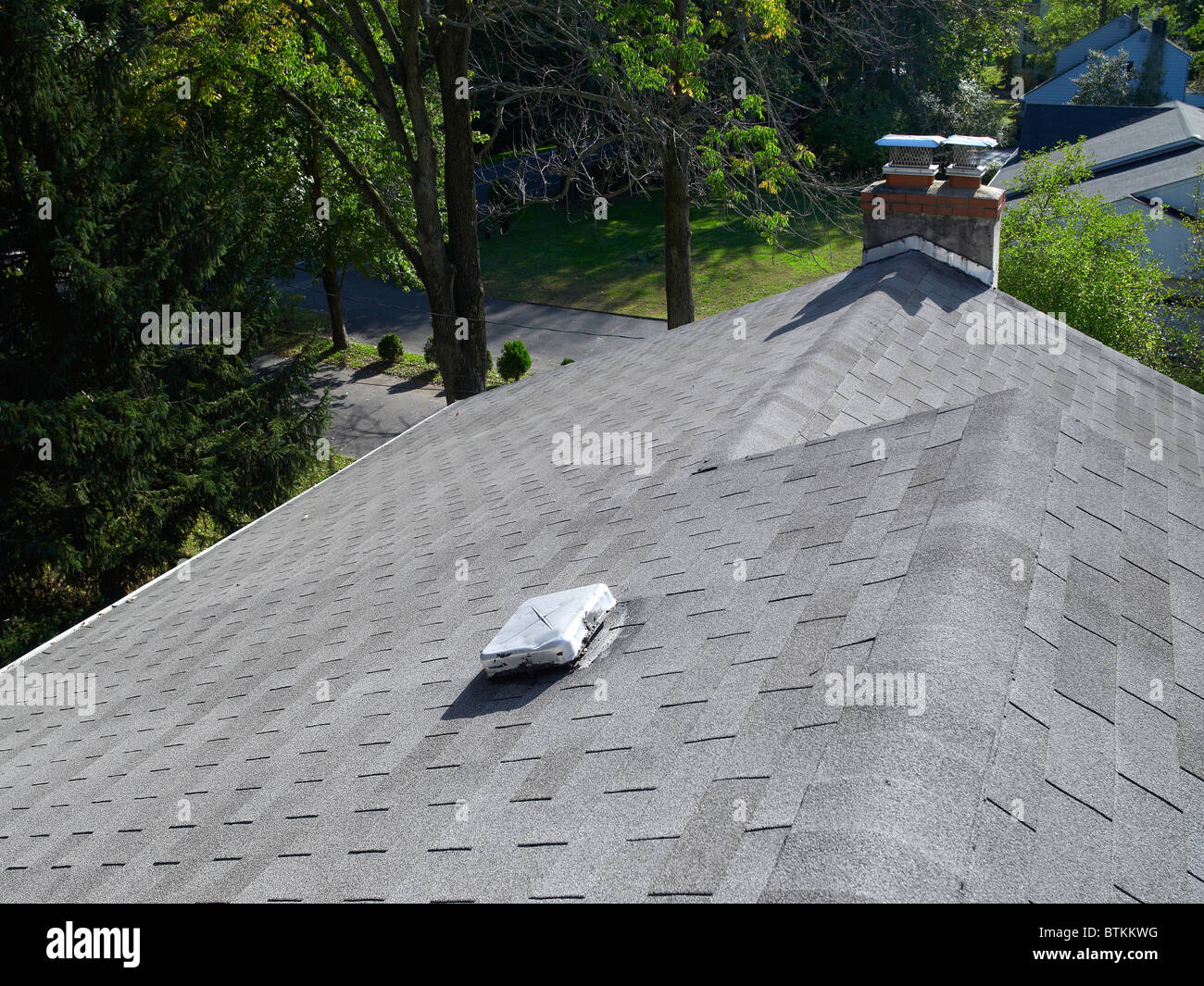 House Roof With Roof Vent And Chimney, Philadelphia, USA - Stock Image