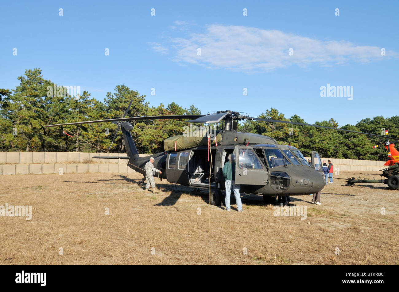 USA Military Helicopter on display at the Open House of Camp Edwards Massachusetts Military Reservation, Bourne, - Stock Image