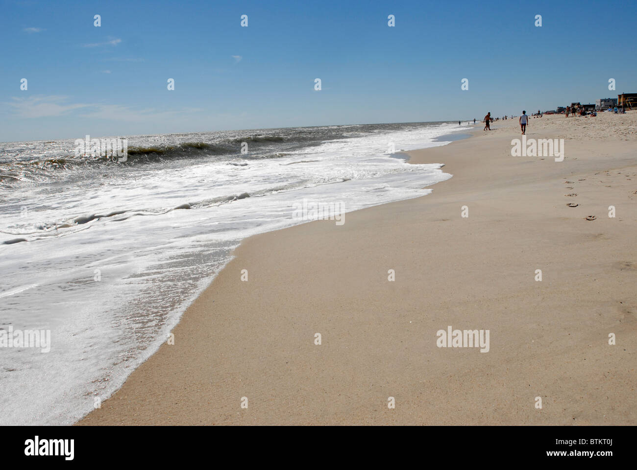 Atlantic surf and  sandy beaches characterize  Fire Island a  vacation destination off of the south shore of Long - Stock Image