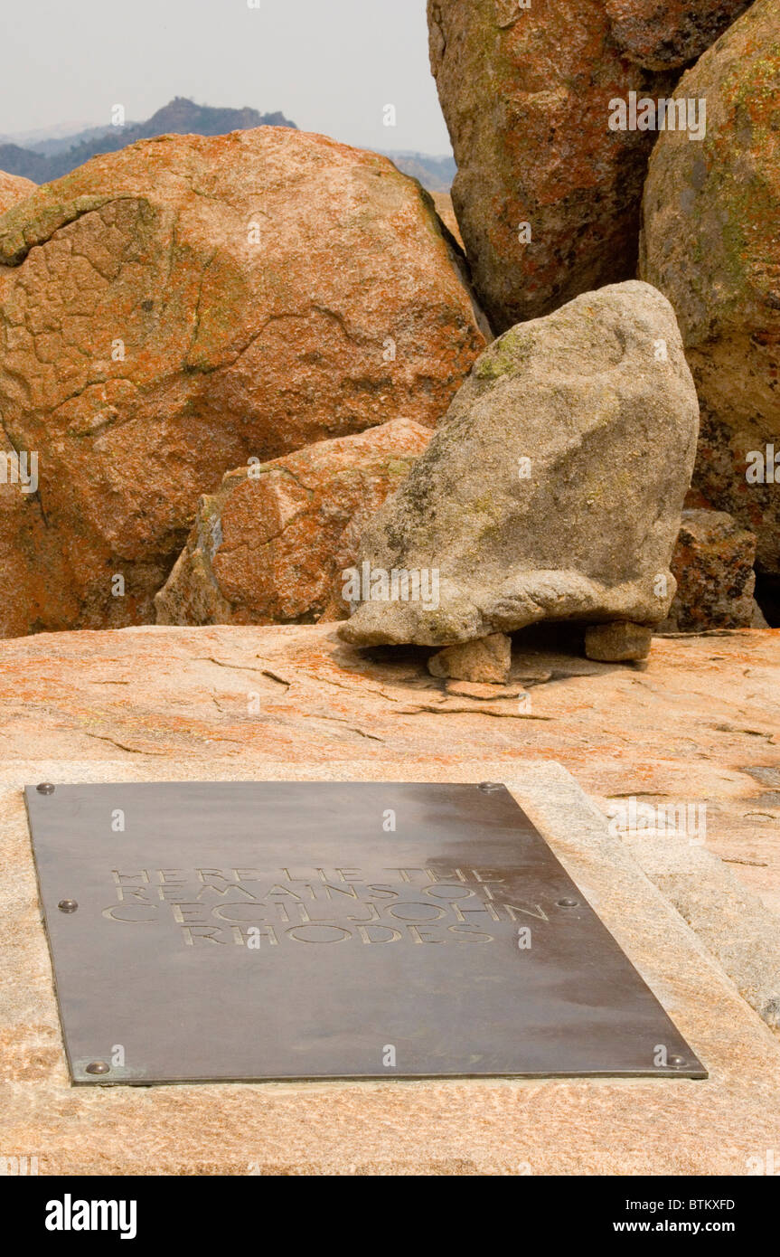 Grave of Cecil Rhodes at World's View, the present-day Rhodes Matobo National Park in Zimbabwe - Stock Image