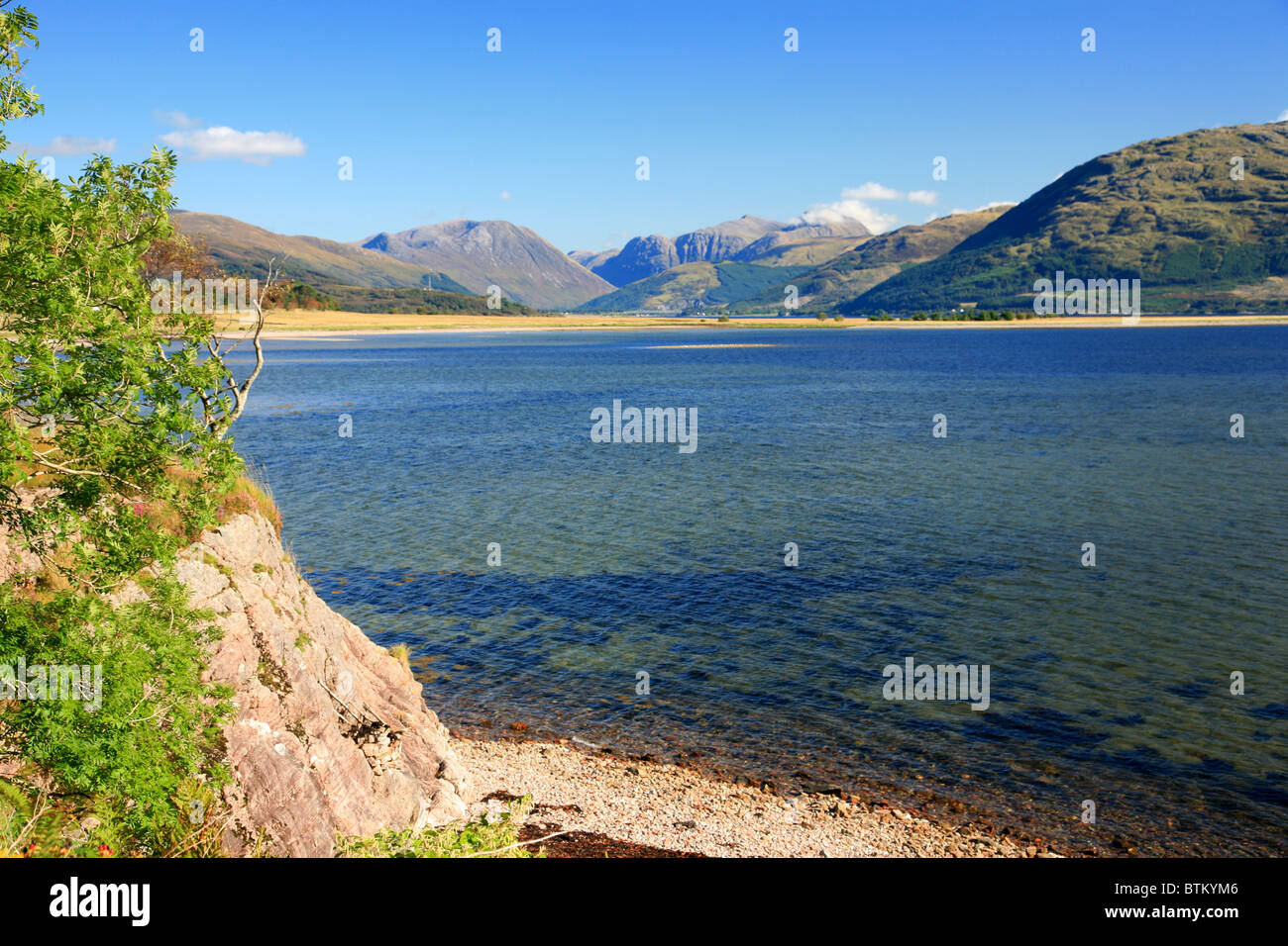 UK Scotland Highland Inverness-shire Loch Linnhe and the Glencoe mountains from Morven - Stock Image