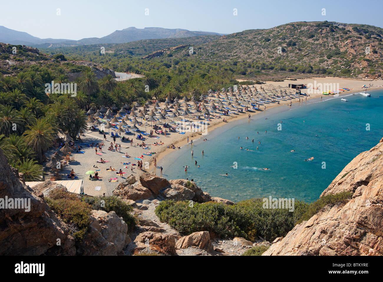 Vai Palm Beach. Crete, Greece. - Stock Image