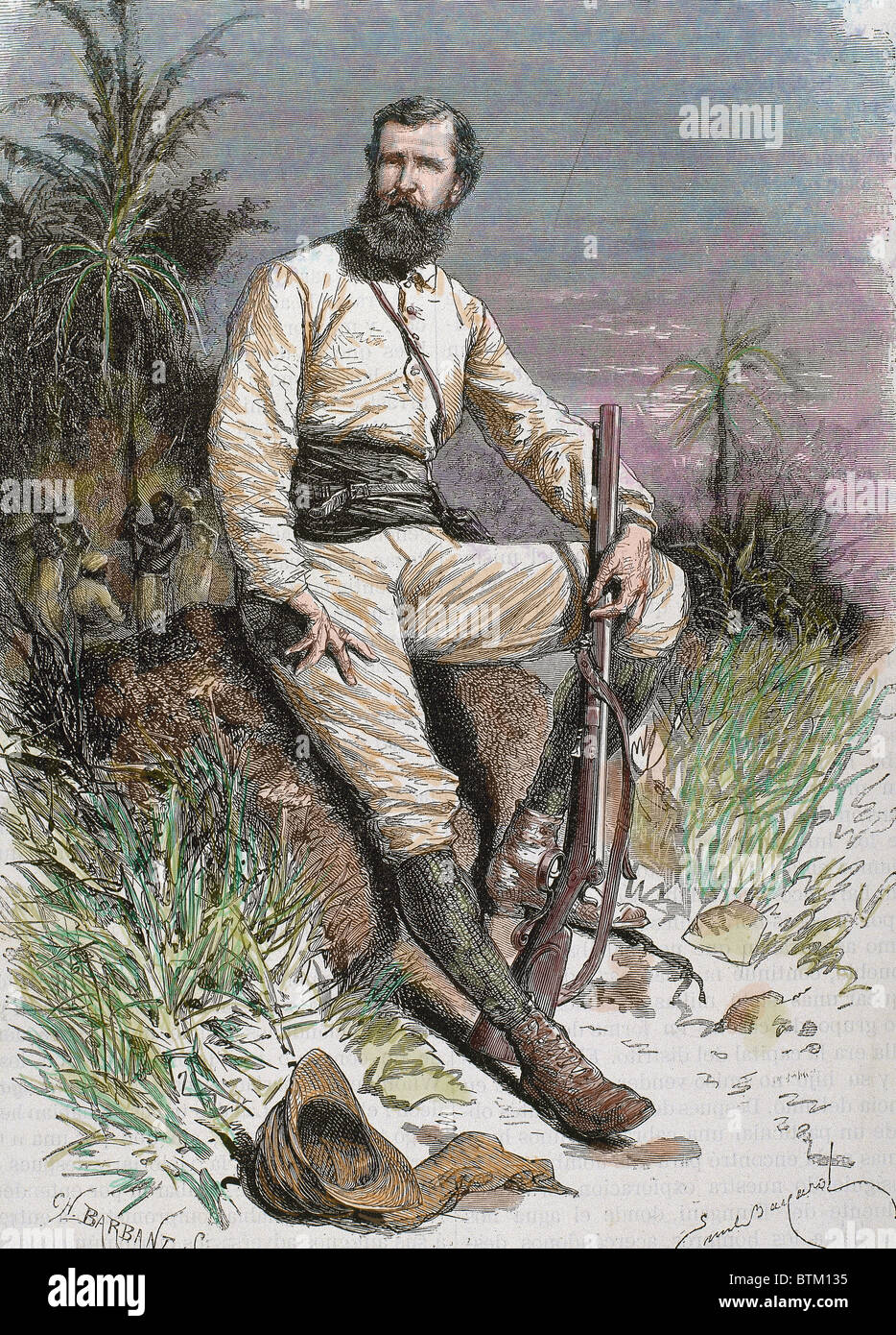 Cameron, Verney Lovett (1844-1894). British traveler and explorer. Engraving by Barbant. Colored. - Stock Image