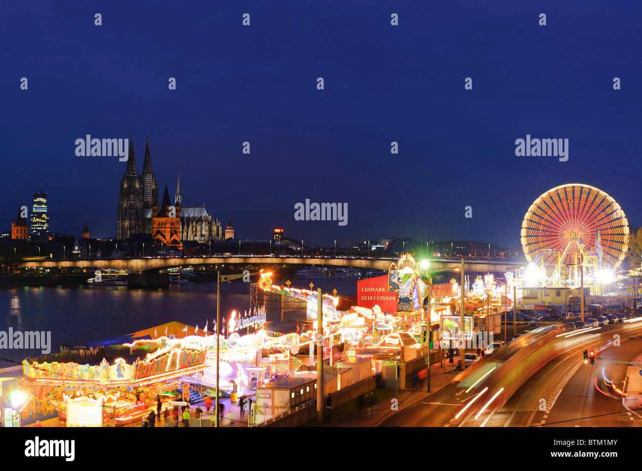 Panoarama of Cologne with Fair - Stock Image