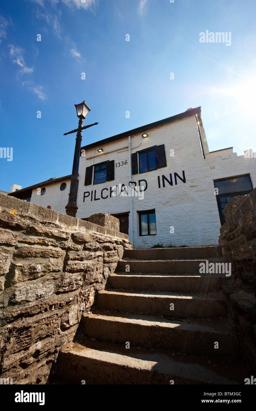 The Pilchard Inn with steps leading from the beach - Burgh Island, South Devon - Stock Image
