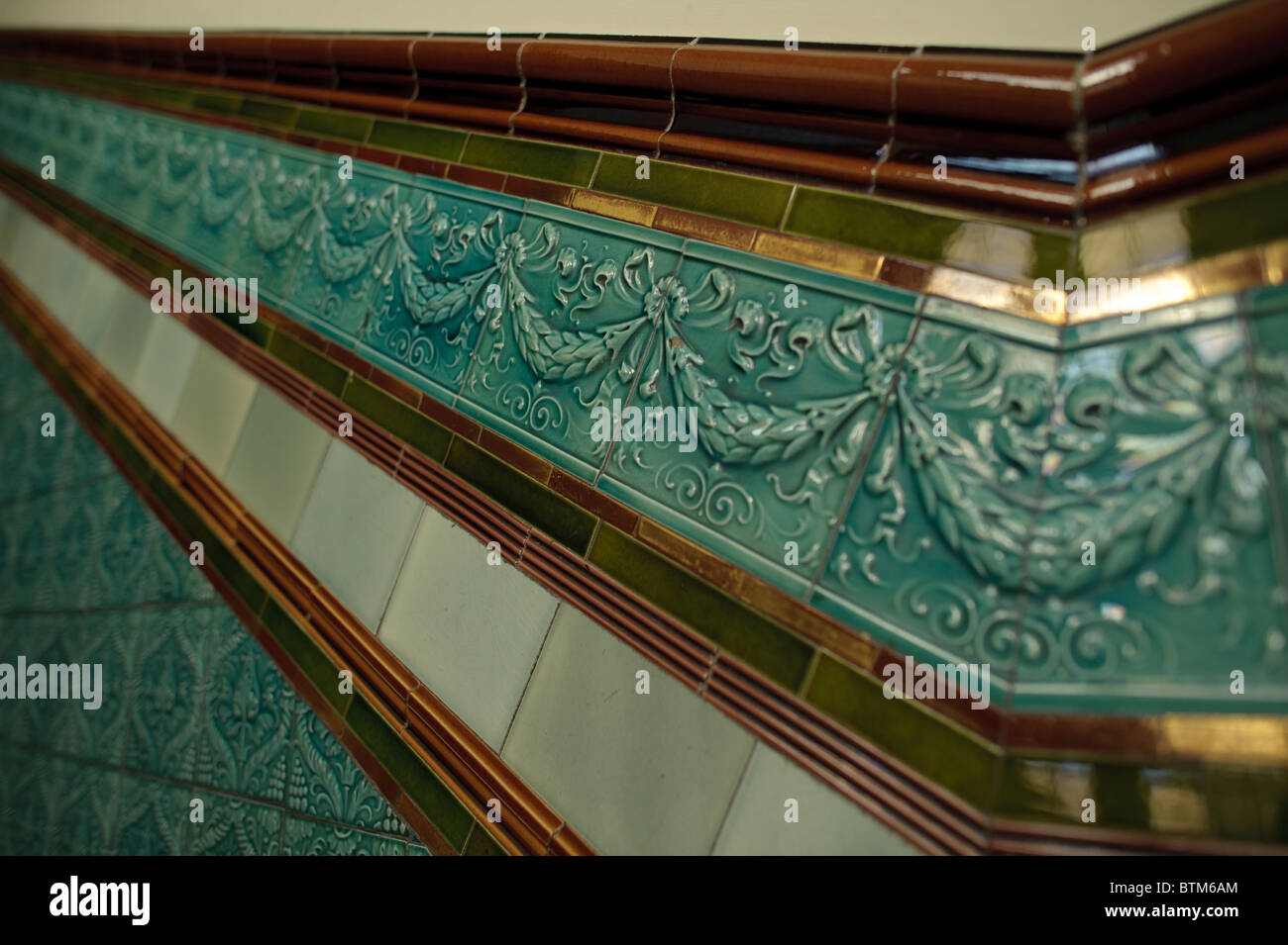Ornate Glazed Victorian Wall Tiles Inside The Pierhead