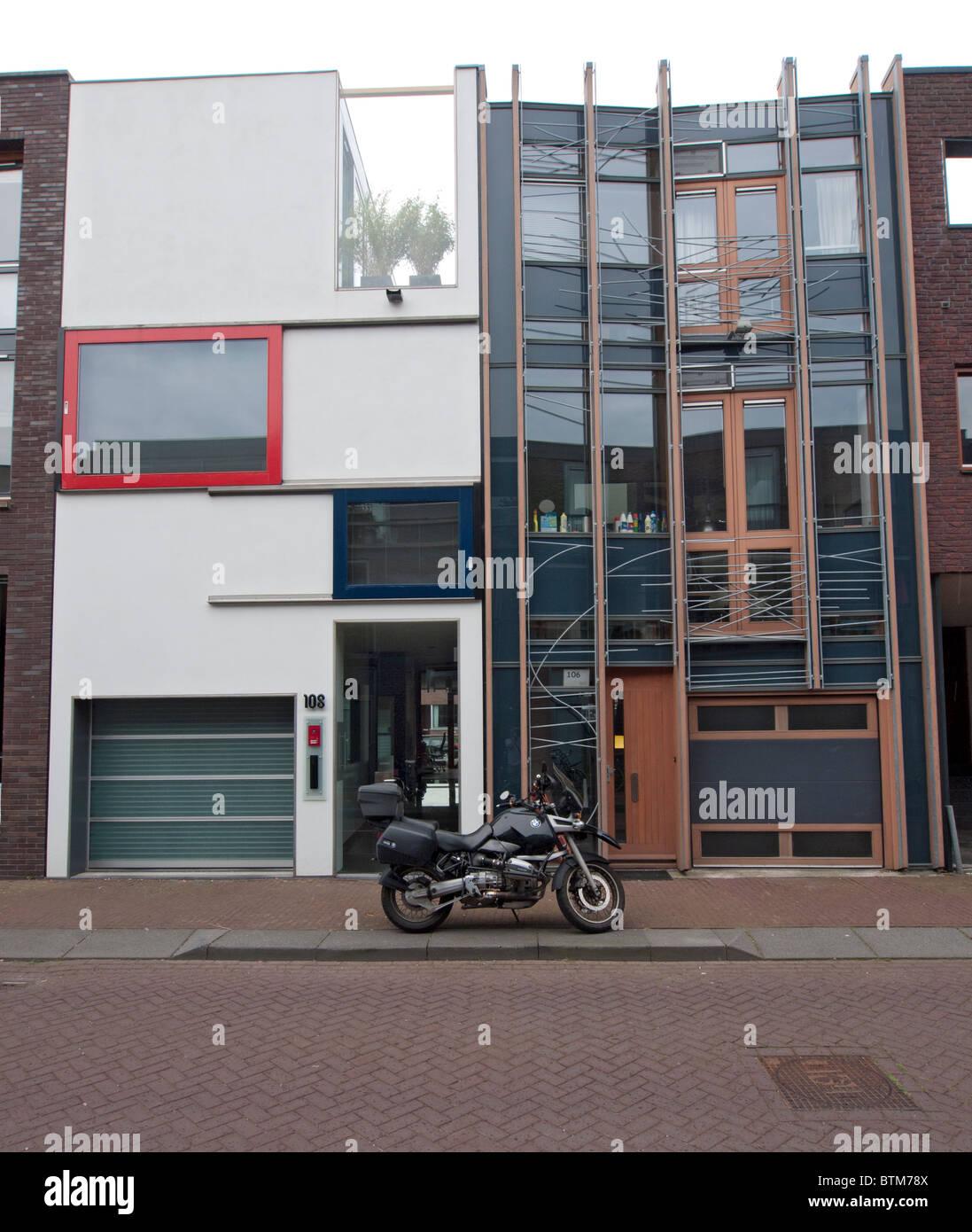 Modern architecture of new houses on Scheepstimmermanstraat in Borneo Island new property development in Amsterdam - Stock Image
