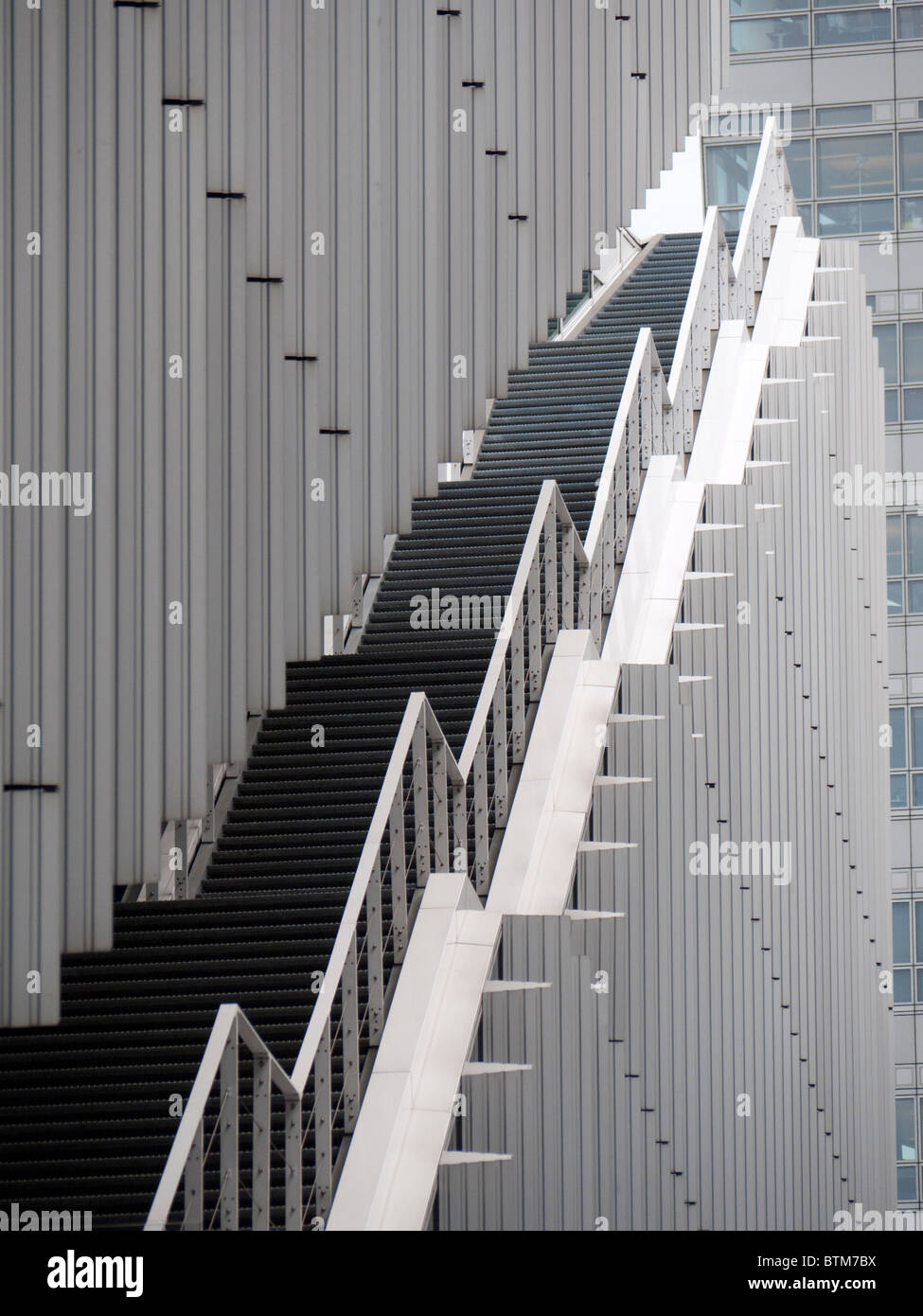 Detail of staircase on office building at modern business district at Amsterdam Zuid in The Netherlands - Stock Image