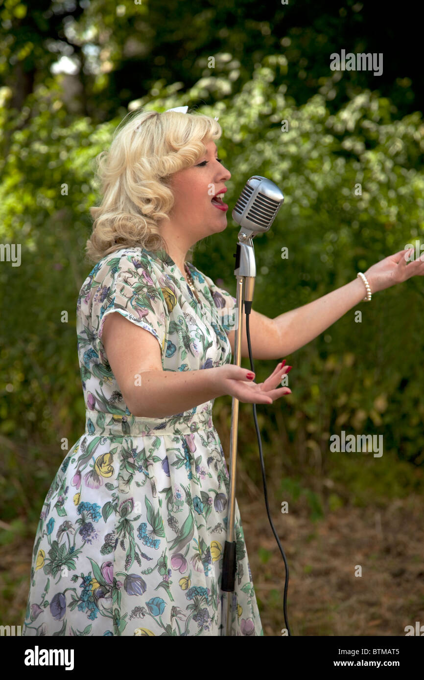 Female singer/entertainer at the  Armed Forces Day in Staveley  Derbyshire East Midlands England - Stock Image