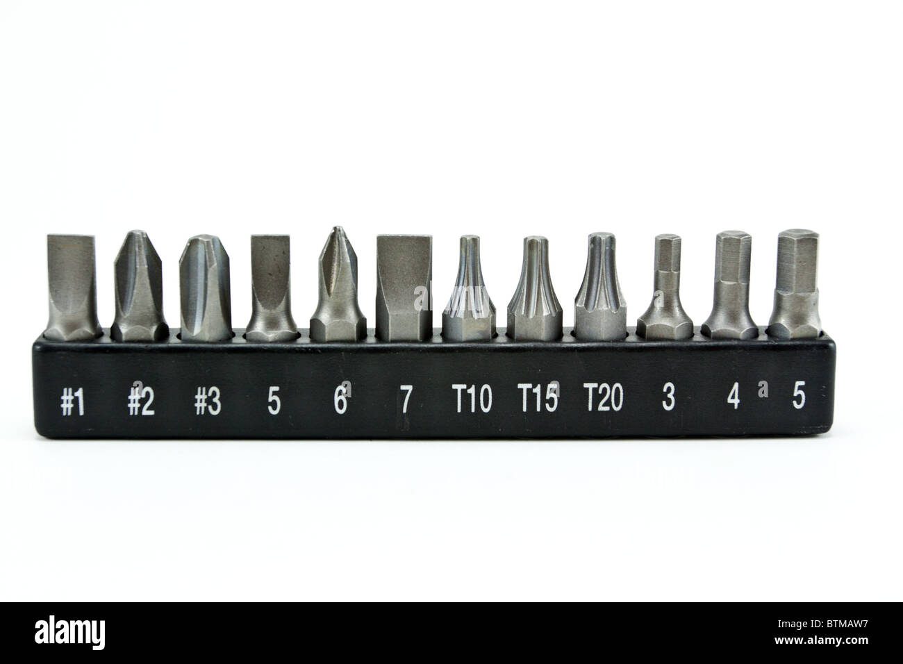set of special nozzles for a screwdriver Stock Photo