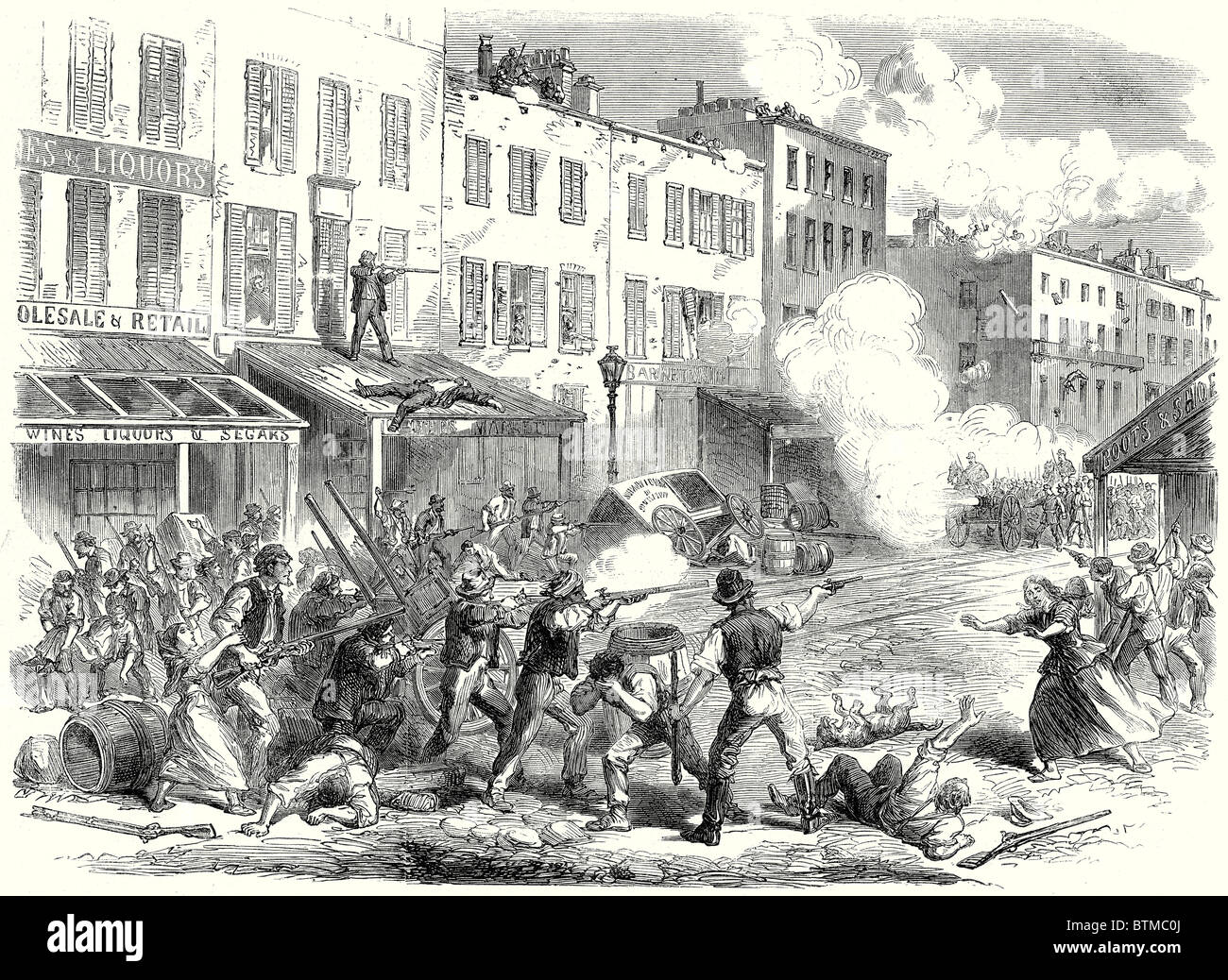 The Riots In New York: Conflict Between The Military And The Rioters In First-Avenue; 15 August, 1863 - Stock Image