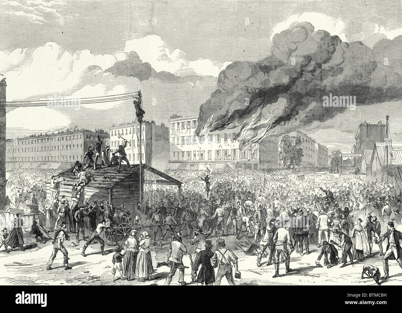 The Riots In New York: The Mob Burning The Provost Marshal's Office, 8 August, 1863 - Stock Image
