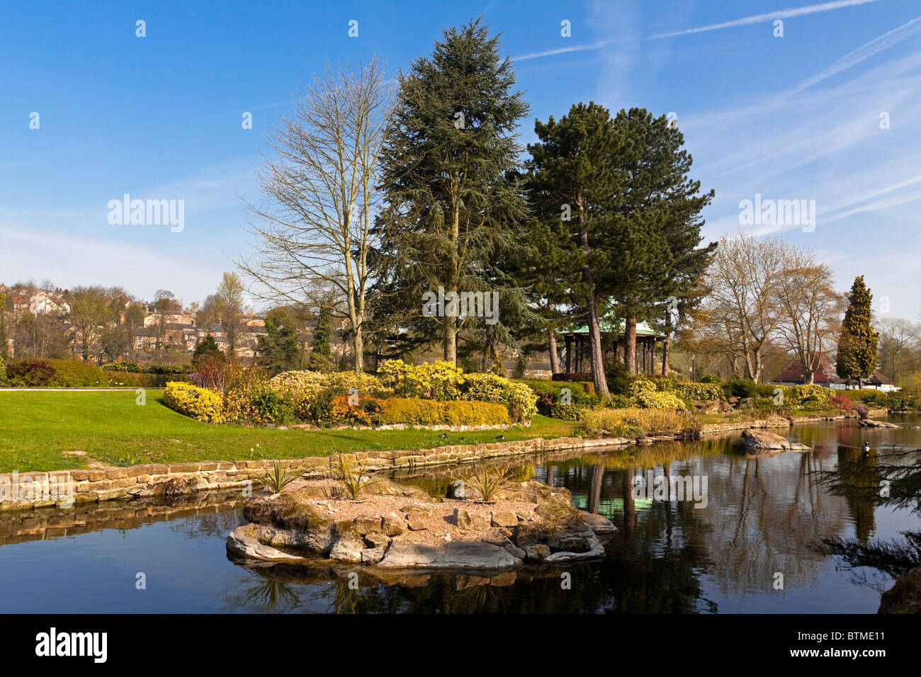 Belper River Gardens on the River Derwent in Belper Derbyshire Stock ...