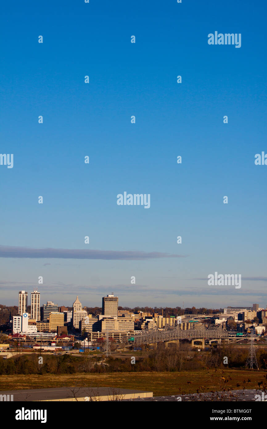 The Peoria, Illinois skyline shines on a cool fall morning. - Stock Image