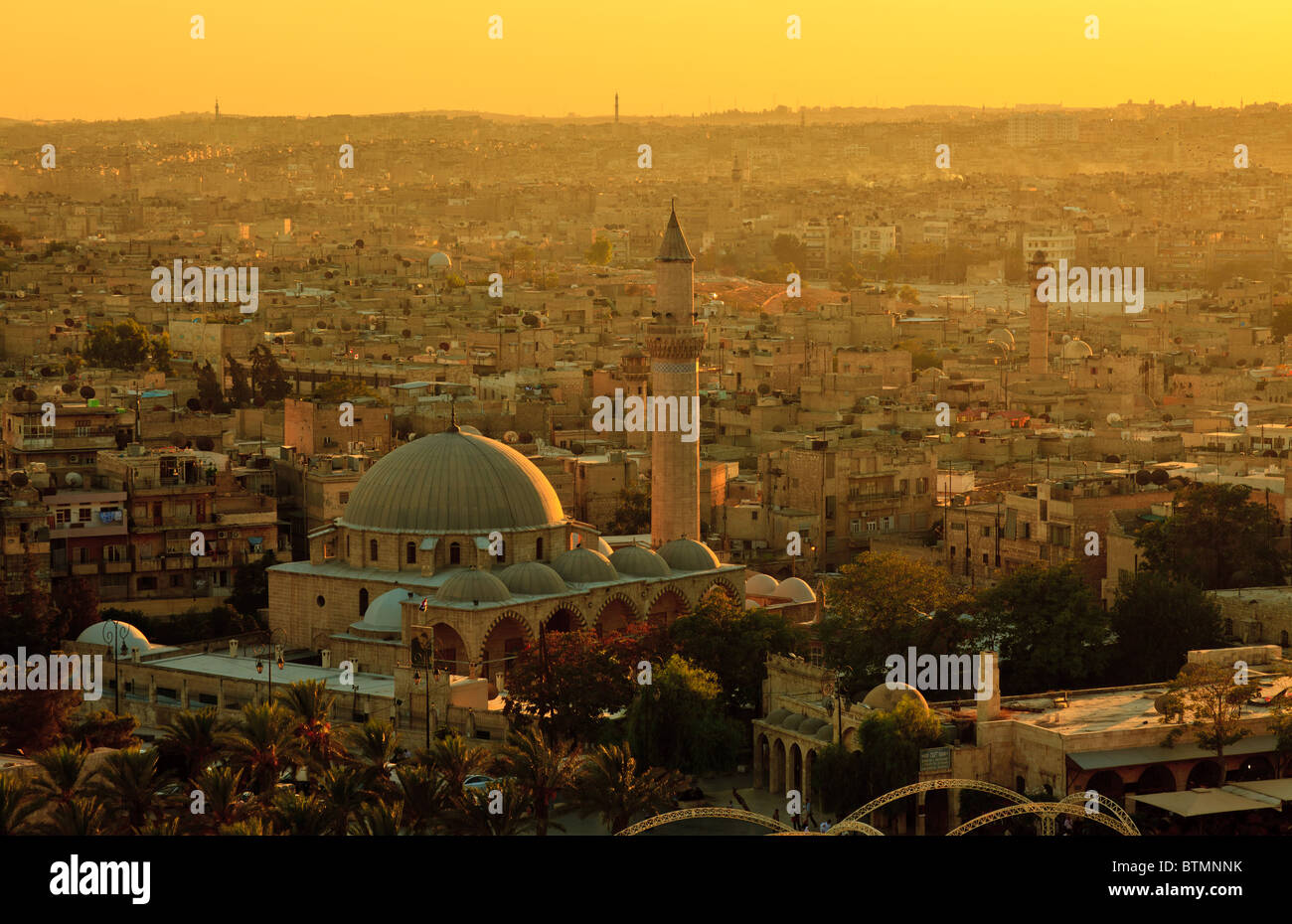 Aleppo, Syria, panorama with mosque Stock Photo
