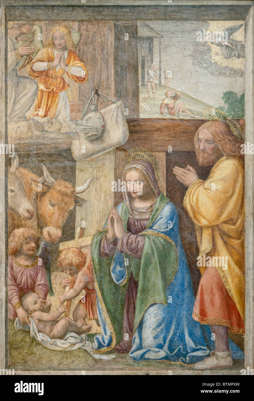 The Nativity and the Announcement to the Shepherds by Bernardino LUINI fresco painting Louvre Museum Paris - Stock Image