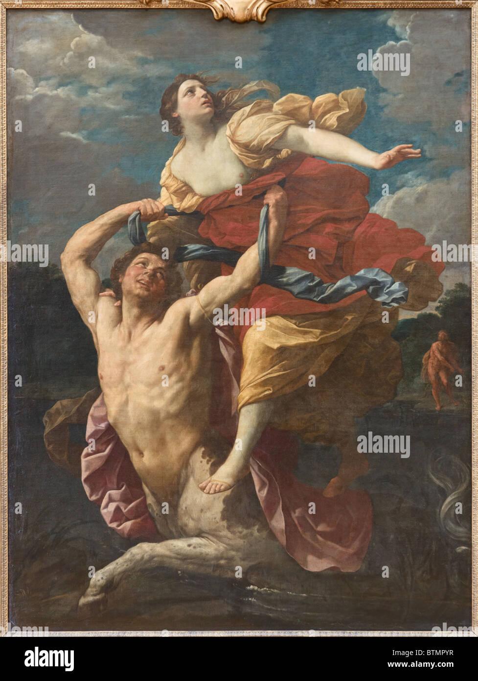 Abduction of Deianira by Centaur Nessus (Nessos), by Italian painter Guido RENI, c. 1620-21, Louvre Museum Paris - Stock Image