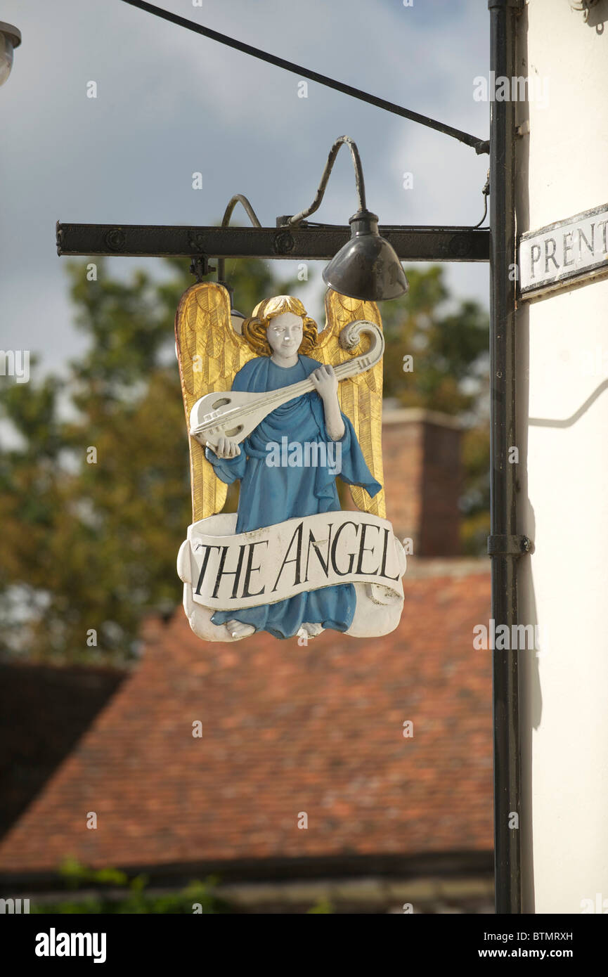 The Sign for the Angel Inn in Lavenham Suffolk Stock Photo