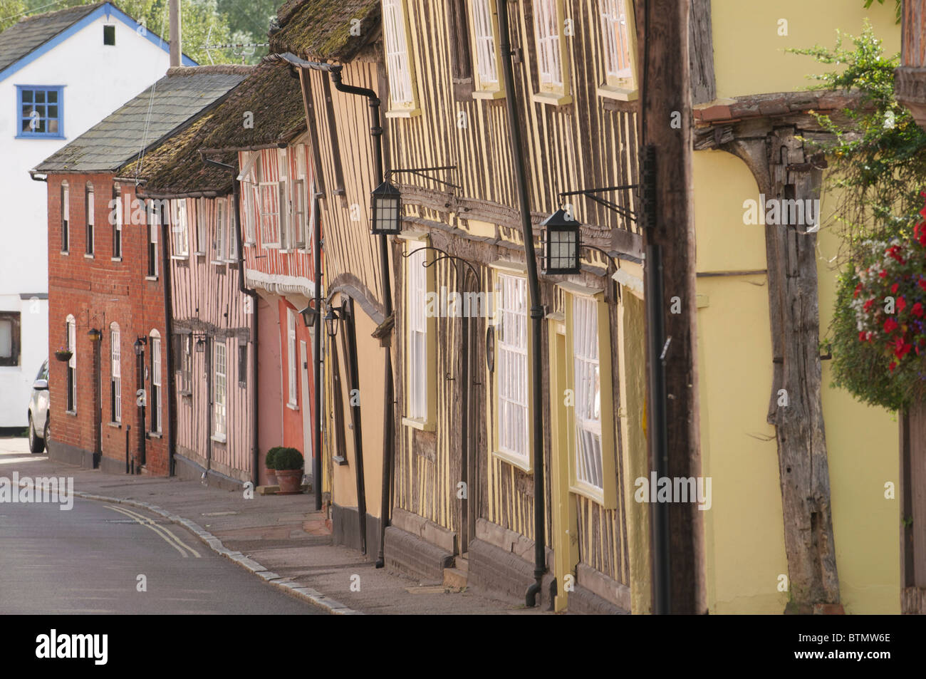 Buildings in the Historic Wool Village of Lavenham in Suffolk - Stock Image