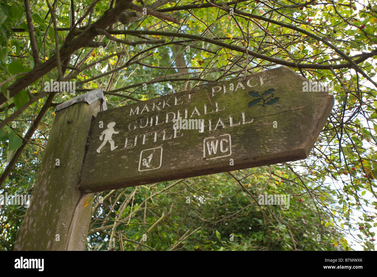 Sign post to the Market Place, Guildhall and Little Hall in Lavenham - Stock Image